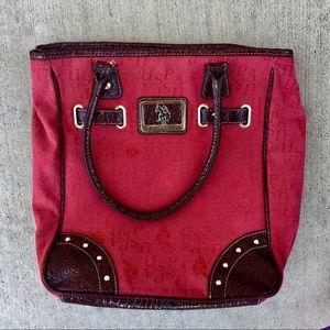 US POLO ASSN. Red shoulder bag- lg.